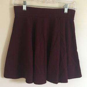 Maroon Textured Skater Skirt